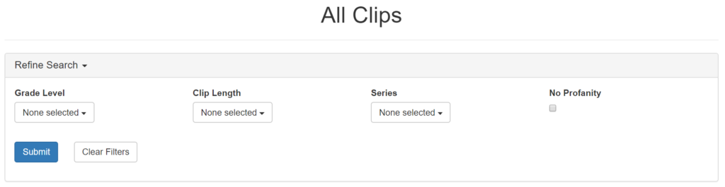 Browse Clips Filters Screenshot
